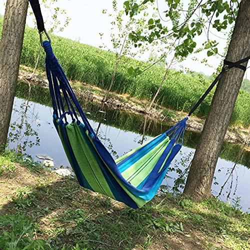 Hamaca Doble para Camping, Portátil Garden Hammock Exterior e Interio Hamaca de Patio Playa Viaje Individual Columpio de Dormitorio Lona Plegable,Azul,280 * 80cm