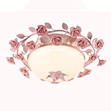 Pastoral Floral Ceiling Lamp Handmade Ceramic Rose LED Ceiling Light with Glass Lampshade for Bedroom Living Room Lighting...