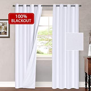 H.VERSAILTEX Waterproof 100% Blackout Curtains Bedroom Linen Look Lined Curtains Living Room Anti Rust Grommet Window Curtains 2 Panels (W52 x L96 inches, White)