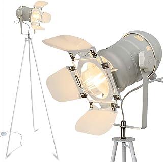 mojoliving Lámpara de pie con trípode de metal para el salón, dormitorio, decoración, trípode, lámpara de pie de diseño retro con trípode (trípode blanco, pantalla blanca)