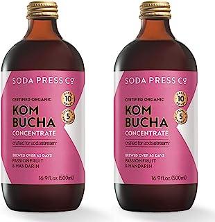 sodastream Soda Press Organic Passionfruit & Mandarin Kombucha Flavor Mix for SodaStream, 16.9 Fl Oz, 2 Pk