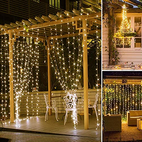 BANQLE Curtain Lights,String Lights 300 LED 9.8Ft9.8Ft Fairy Lights with 8 Modes,Home Garden Bedroom Party Decor(Warm White)