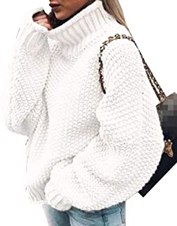 Womens Turtleneck Sweater Long Sleeve Chunky Knit Casual Sweater Pullover Sweater