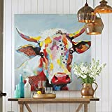 Colorful Cow Paintings Canvas Wall Art Animal Paintings Handmade Texture Oil Paintings 3D Cow Pictures American Country Style Wall Decor for Living Room Bedroom Modern Art Work Wooden Framed 32x32inch