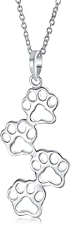Minimalist Pet Dog Cat Puppy Kitten Four Paw Prints Pendant Necklace For Women For Teen 925 Sterling Silver With Chain