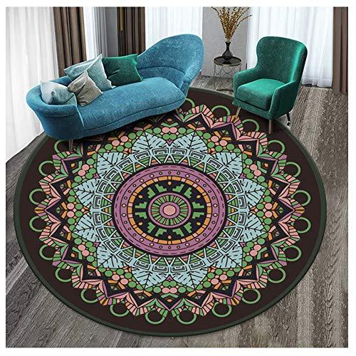 JINQI Alfombras Redondas Vintage Mandala Fibras Naturales Alfombra De Piso Antideslizante De Pelo Corto para Habitaciones Sala De Estar Habitaciones para Niños Decoración 80cm