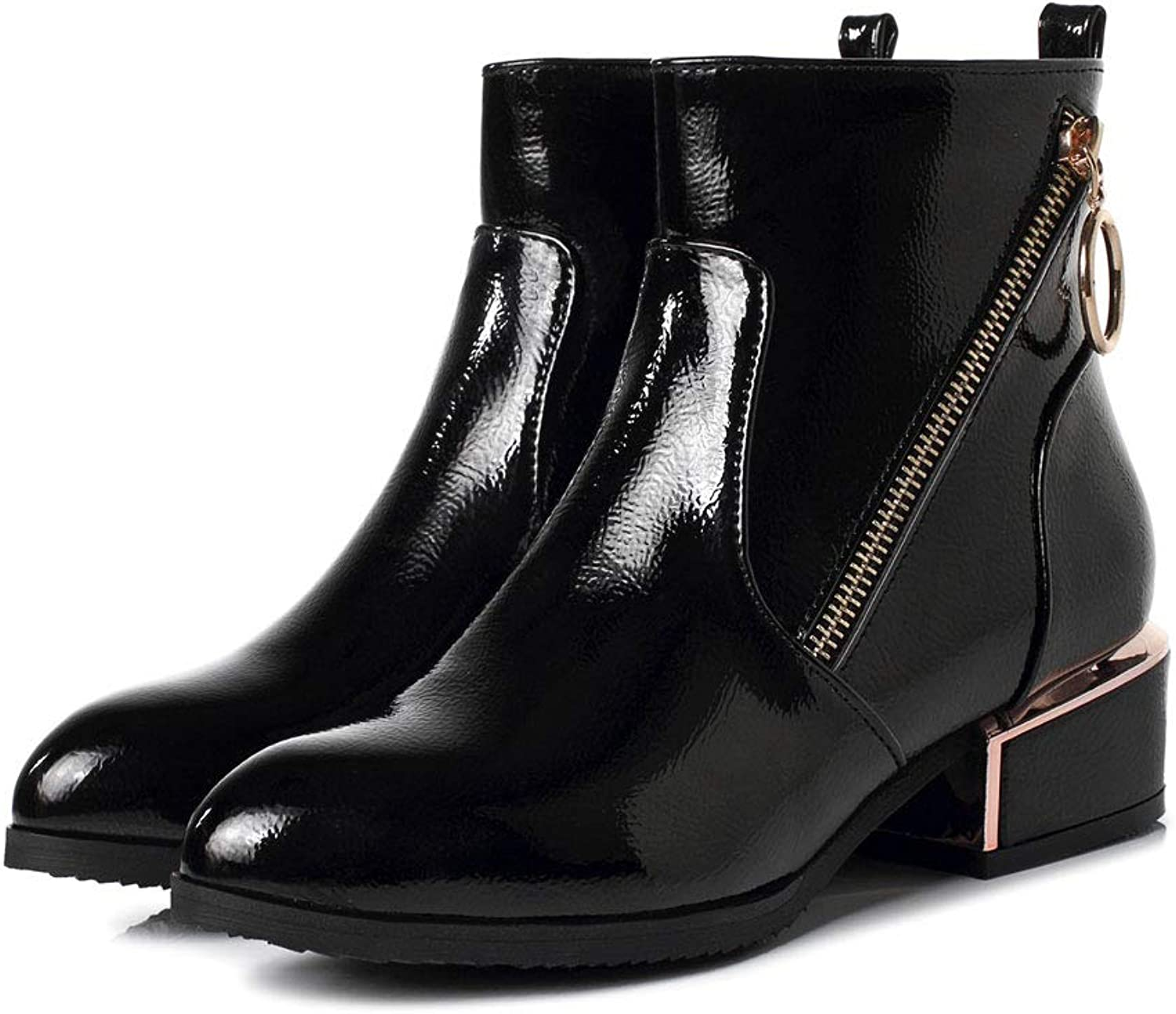 Women's Patent Leather Ankle Boots, Comfortable Mid Heel Ankle Boots Side Zipper Low Tube Martin Boots Waterproof Platform Non-Slip Wearable Knight Boots