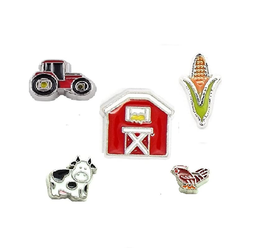 Cherityne Farm Themed Set of 5 Floating Chams for Locket Pendants