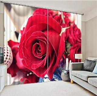 WKJHDFGB Romántico 3D Cortinas Lecho Sala De Estar Sala De Estar O Hotel Cortinas Sombrilla Cortina De La Ventana Cortinas De La Boda Regalo para Los Amantes,215X320Cm