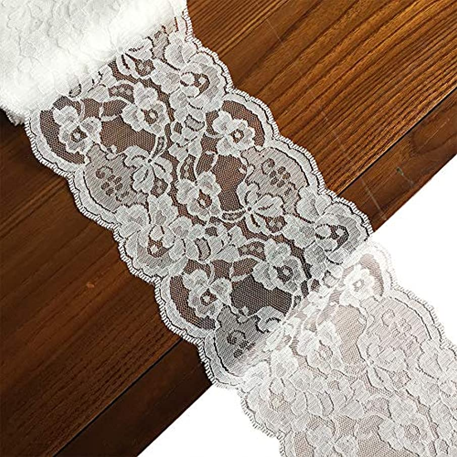 LaceRealm 5.5 inch Wide Lace Trim Ribbon with Floral Pattern for Decorative Bridal Wedding Lace DIY Making Sewing Accessory-10 Yards (6822 White)
