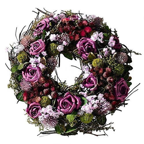 SIDCO Türkranz Rose Blumenkranz Kranz Blütenkranz Wandkranz Tischkranz Dekokranz lila