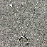 Yienate Collar Bohemia con colgante de estrella de la media luna de pentagrama Boho Collares de cadena para mujeres y niñas (plata)