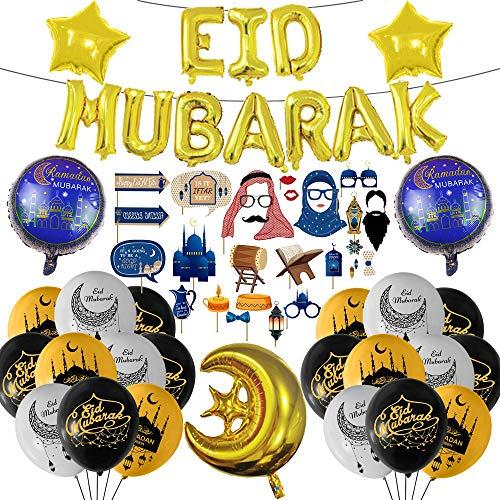 58 Pcs Eid Mubarak Decoration Set, Ramadan Party Decorations Supplies, Eid Mubarak Photo Booth Props Kit Foil Banner Latex Balloon for Muslim Eid Party
