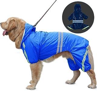 SALOVES Chubasqueros Impermeables para Mascotas Perros con Capucha para Perro Mediano y Grande con Collar Agujero Tiras Reflectoras Transpirable Impermeable 100% Chaqueta para Lluvia