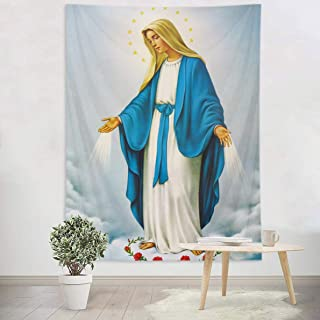 HVEST Blessed Virgin Mary Tapestry Mother of God Tapestry Wall Hanging Christian Wall Art Decorations Jesus Christ Wall Tapestry Holy Mary Backdrop for Bedroom Room Dorm Decor,60Wx40H inches