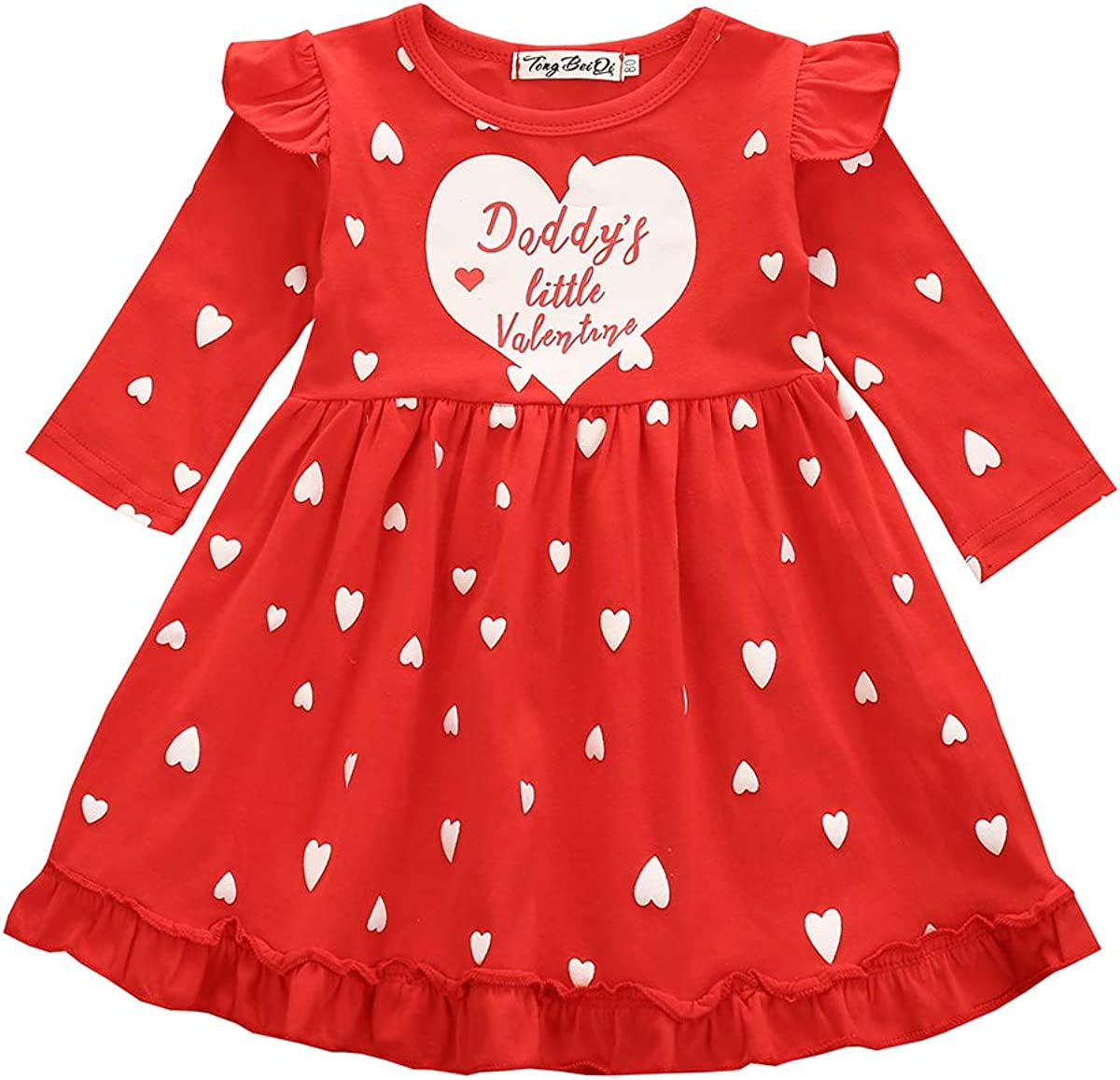Toddler Baby Girl Valentine Topics on TV Superior Outfit Long Hearts Sleeve Ple Ruffle