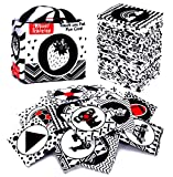 Black and White Soft Flash Cards,Nontoxic Fabric Baby Cloth Activity Crinkle with Storage Bag for Infants Boys and Girls Early Educational Toys Perfect for Baby Shower