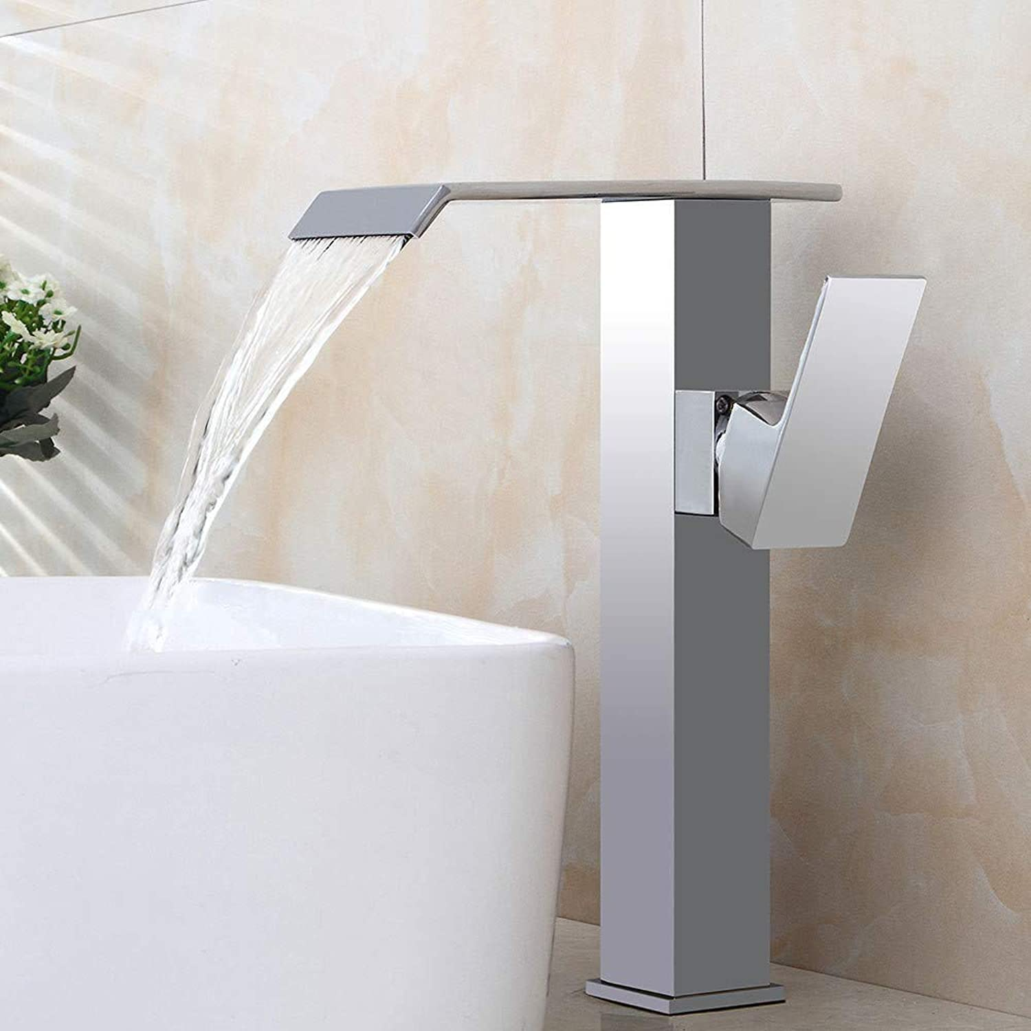 Chrome-Plated Brass Kitchen Faucet Plating Basin Faucet Above Counter Basin Hot and Cold Water Faucet Waterfall Bathroom Faucet