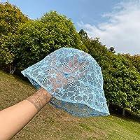 帽子漁師帽子レース日本文学と芸術野生の夏の薄いセクションカバー顔日焼け止め盆地帽子日よけ帽-Blue-M (56-58Cm)