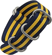 Blue/Yellow High-end Superior NATO Style Ballistic Nylon Watch Band Strap Replacement for Men Braide