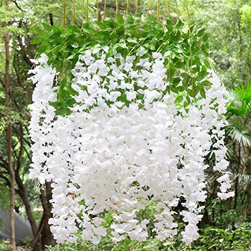 MARTHA&IVAN 14 Stems Artificial Wisteria Garland Fake Wisteria Vine Hanging Flower Bush String for...