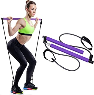 DAVOM Yoga Pilates Bar Kit, Portable Pilates Stick with Exercise Resistance Band, Muscle Toning Bar with Foot Loop for Hom...