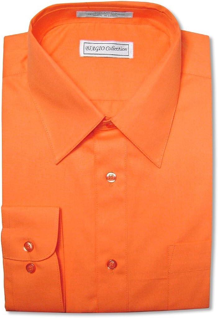 Biagio Men's 100% Cotton Solid Burnt Orange Dress Shirt w/Convertible Cuffs