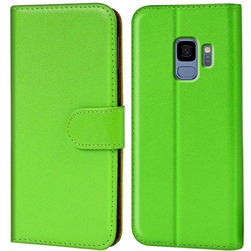 Verco Galaxy S9 Hülle, Handyhülle für Samsung Galaxy S9 Tasche PU Leder Flip Hülle Brieftasche - Grün