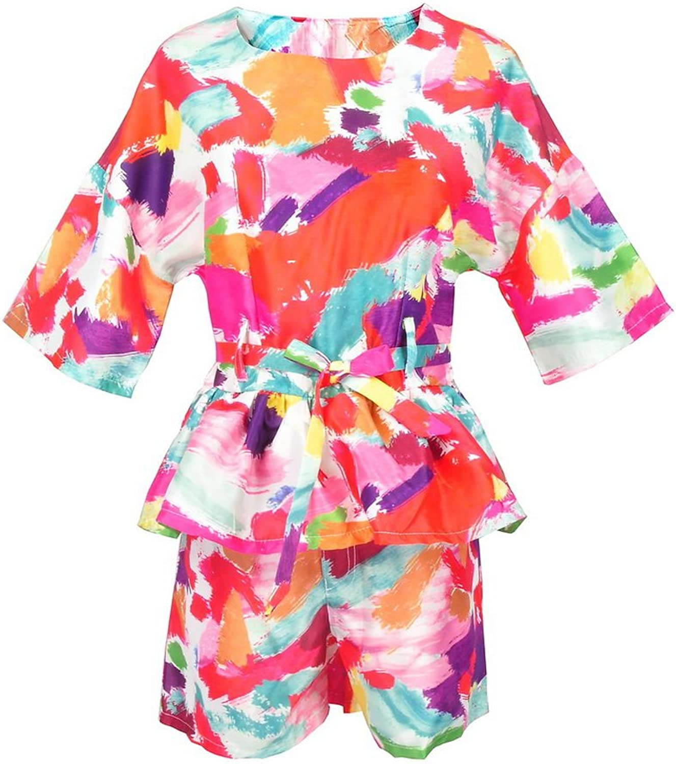 Get The Looks colorful Paint Print Belted Peplum Kimono Suits