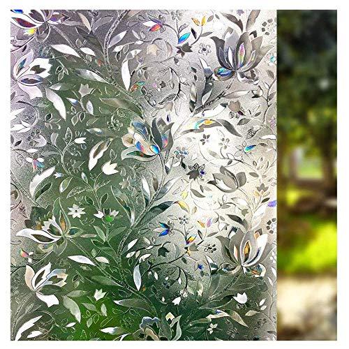 LMKJ Flor floreciente diseño de Vid Película para Ventanas Adhesión estática bajo el Sol Refracción del Arco Iris Película de Vidrio láser 3D A151 60x100cm