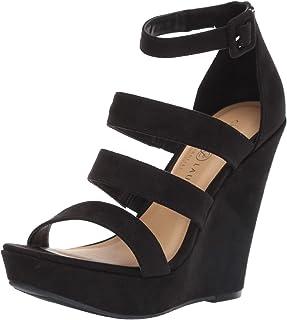 Chinese Laundry Women's MANEEYA Wedge Sandal, Black Suede, 8 M US