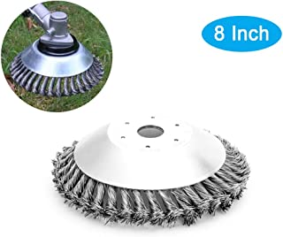 KShengu Trimmer Head, Weed Brush,Round Steel Wire Brush,Rust Removal, for String Trimmers, Rust Removal, Round Steel Wire Brush fits for Paving Stone, Pavement Joints (8Inch)