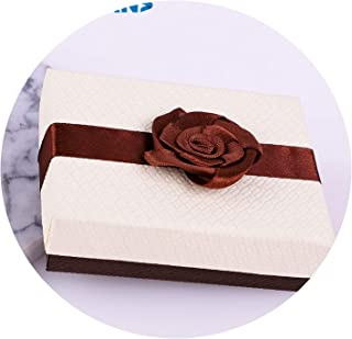 May Rain Gift Boxes Square Jewelry Organizer Shape Box Engagement Ring for Earrings Necklace Bracelet Display Holder Rose Flower New Gold,9x7x3cm 1