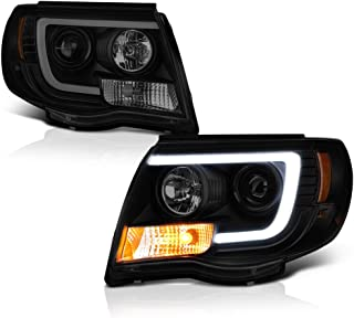 For 2005-2011 Toyota Tacoma Pickup Truck Black Smoke OLED Neon Tube Projector Headlight Headlamp Assembly Driver and Passenger Side Replacement Pair
