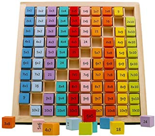 umbresen Wooden Multiplication Board Game, 100 Cubes Blocks Montessori 10x10 Times Table Tray with Answers Preschool Learn...