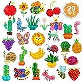 Qpout 29 Diamond Painting Stickers Set para niños, DIY Crafts Fruit Animal Cactus 5D Diamond Mosaic Stickers para niños Adultos Principiantes Regalos de cumpleaños Regalos