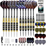 Steel Tip Darts Steel Tip Set Professional Darts, 24 Grams and 20 Grams Metal Tipped Darts with Aluminum Shafts and Brass Barrels, Extra Dart Flights, Sharpener Tool Kit, Carrying Case, 12 Pack