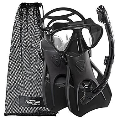 Phantom Aquatics Speed Sport Signature Mask Fin Snorkel Set, All Black, Large/Size 10-13