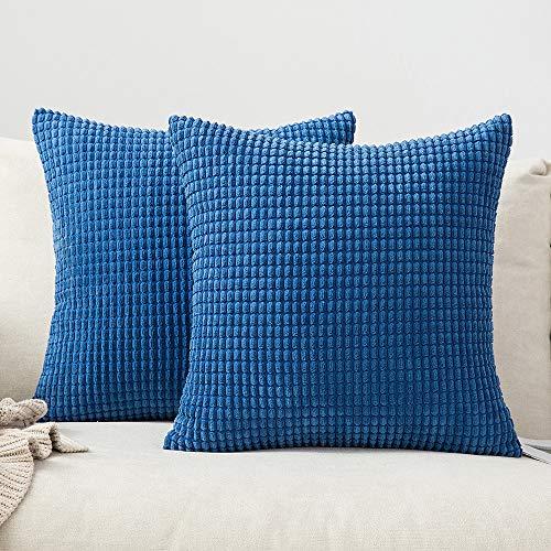 MIULEE 2er Set Cord Weiches Massiv Dekorativen Quadratisch Überwurf Kissenbezüge Kissen für Sofa Schlafzimmer Auto 16