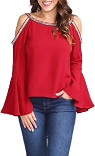 ZOMUSAR Women Fashion Casual Solid Blouse Glitter Cold Shoulder Flare Sleeve T-Shirt Top