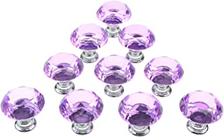 Beau Dxhycc 10pcs Purple 30mm Flat Round Crystal Glass Cabinet Knobs Cupboard  Drawer Pull Handles