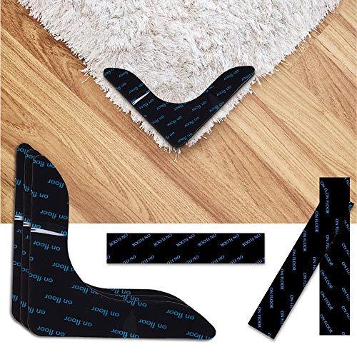 N/D Keilafu antirutsch Teppich, Teppich Stopper, 12 PCS Strong Stickiness Carpet rutschfeste Aufkleber, Streifen- und rechtwinklige Teppichaufkleber, um Ihren Teppich an Ort und Stelle zu halten
