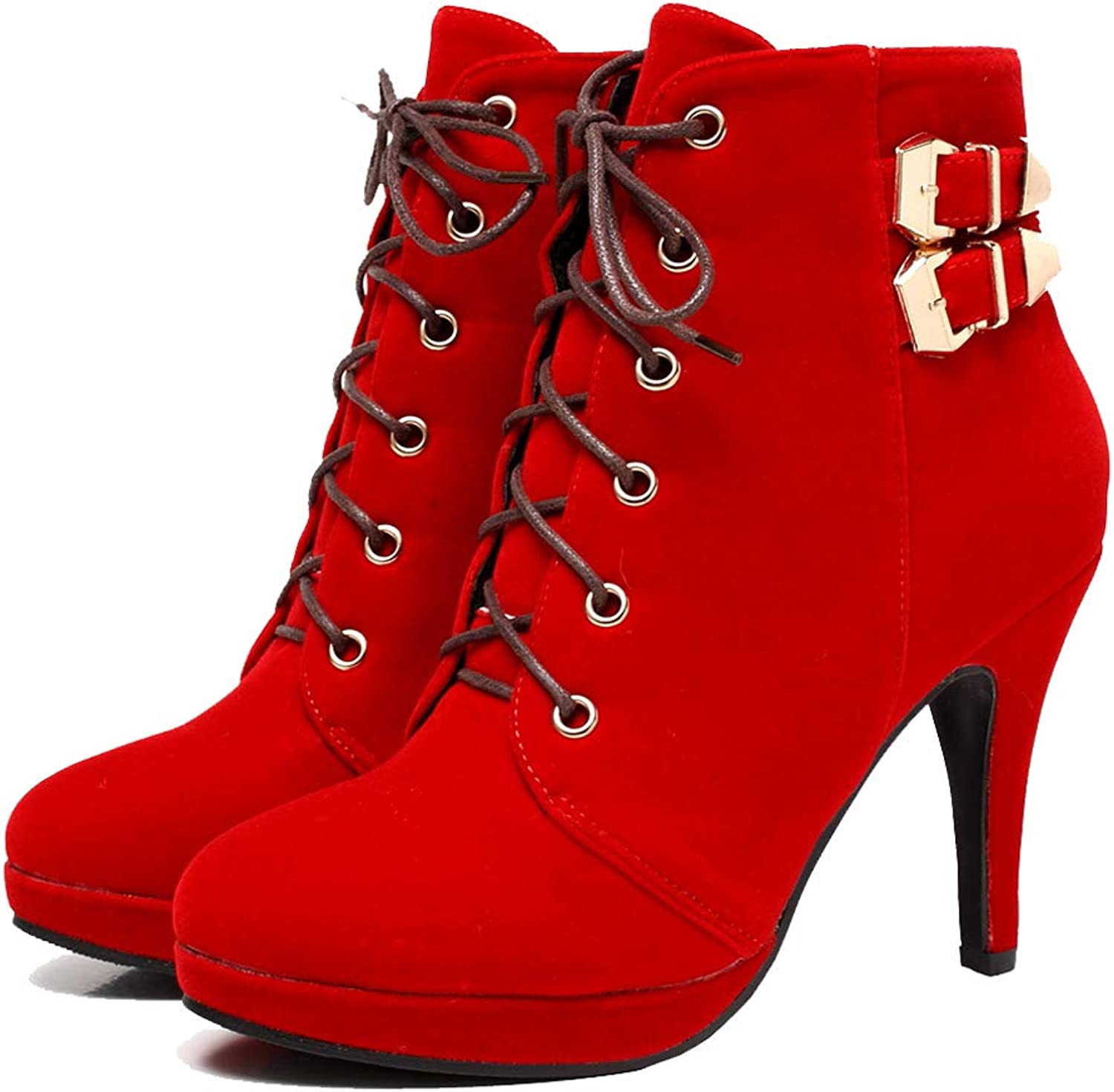 Getmorebeauty Womens Stylish hot lace up Stiletto high Heel Sexy Platform Motorcycle Boots shoes