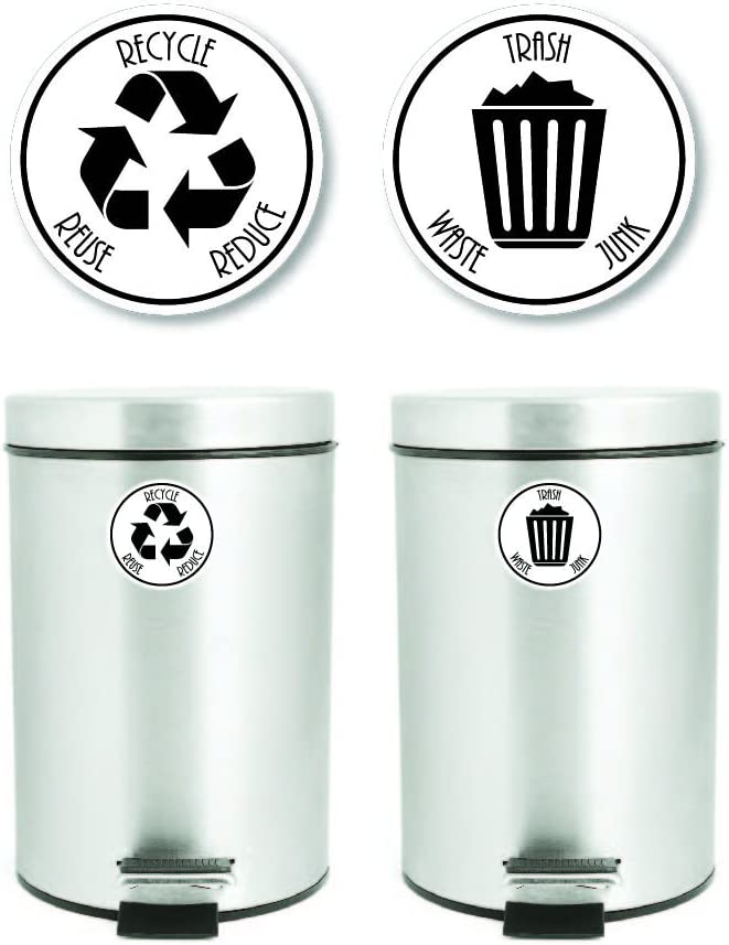 4 x 4, White-Black Yoonek Graphics Recycle and Trash Decal Sticker for Trash cans for Personal Home or Business use # 953