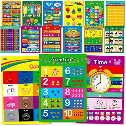 15 Educational Posters, Alphabet, Shapes, Colors, Numbers 1-100, Multiplication Table, Days of The Week, Months of The…