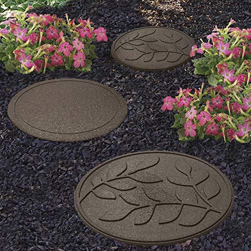 Garden Gear Garden Stepping Stones Ornamental Path Eco Friendly Weatherproof Recycled Rubber Leaf Design (8 Stones, Earth)