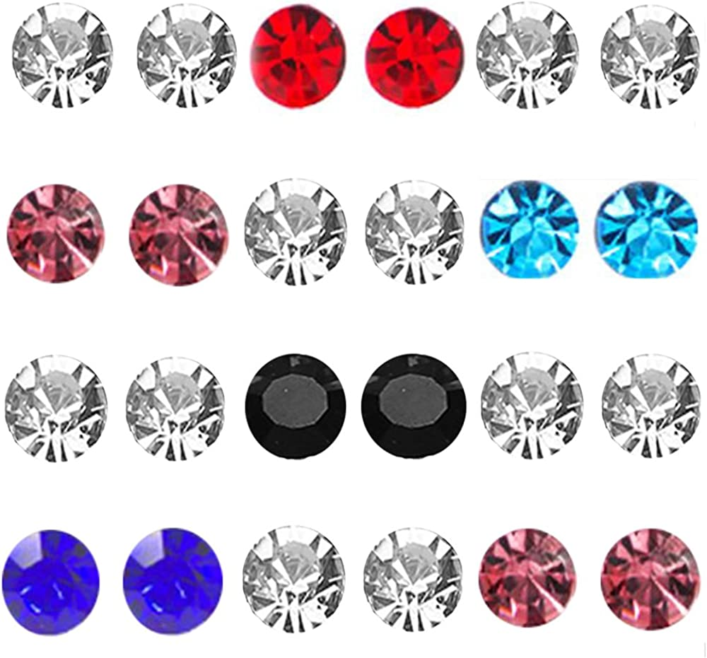 JOYA GIFT Stainless Steel Mens Womens Magnetic Stud Earrings Non Piercing Clip on CZ Earrings