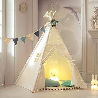 TreeBud Teepee tält för barn med matta, fem stolpar indiska lektält småbarn pojkar flickor lekstuga pompom spets bomull ka...