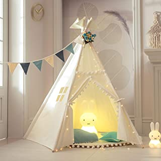 Tree Bud Kids Teepee Play Tent with Mat Indoor Outdoor Five Poles Indian Tents Toddlers Boys Girls Playhouse Pompom Lace Cotton Canvas Tipi with Carry Bag