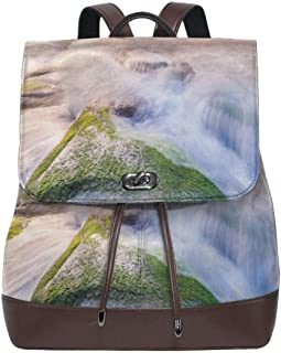 Women's leather backpack,Malaysia Landmark Nature Wonders Photo Of Fountains Stream Mossy Rocks With Ombre Sky,School Travel Girls Ladies Rucksack